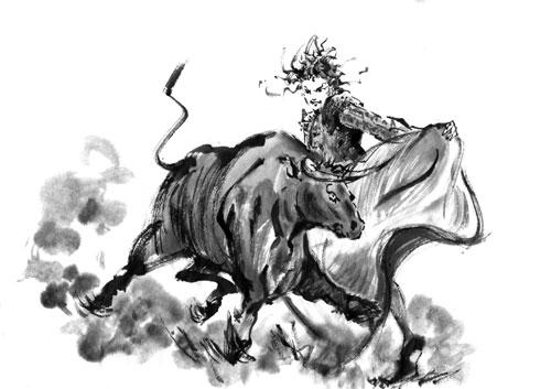 スペイン 闘牛 水墨画