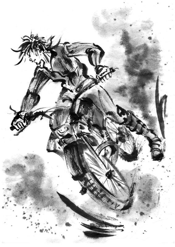 バイク水墨画