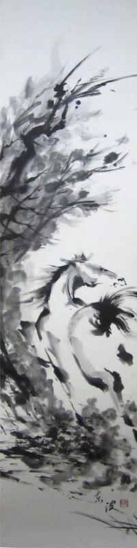 馬 水墨画 墨絵