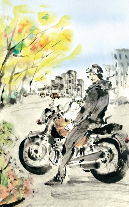バイク 人 イラスト 墨絵