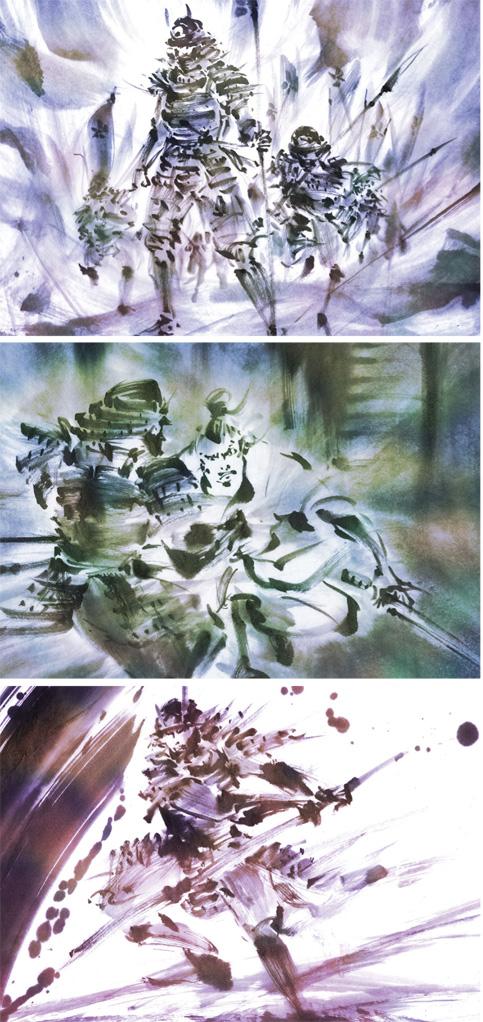 戦国武将 甲冑 戦闘 墨絵 水墨画