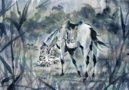 戦国武将の馬 墨絵 水墨画