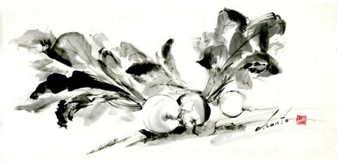 野菜 墨絵