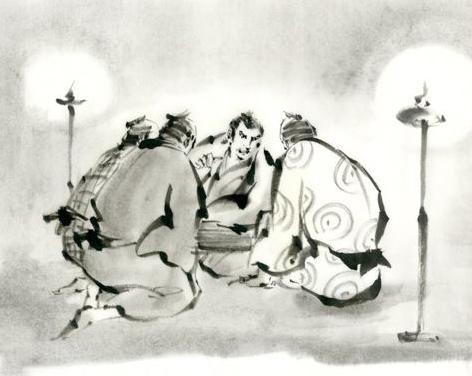作戦会議 江戸時代 墨絵