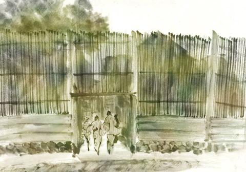 水墨画 建物 集落 江戸
