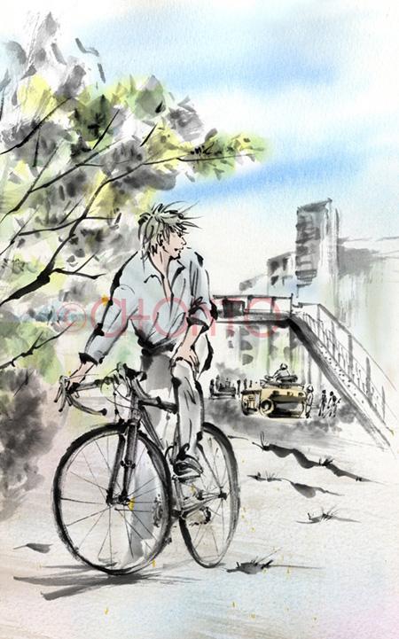 人 自転車 水墨画 墨絵