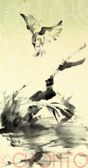 小鳥 水墨画 墨絵