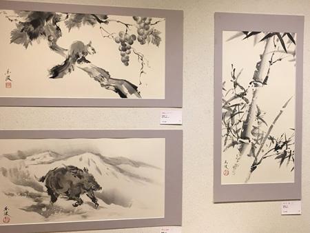 リスと猪と竹 墨絵